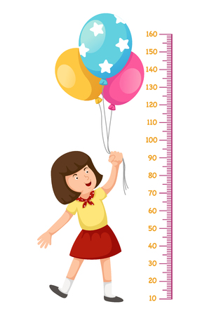 Meter wall girl flying with balloons.vector illustration