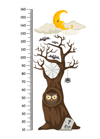 Meter wall with halloween tree.vector illustration