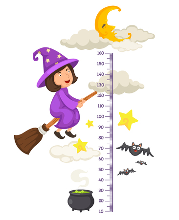 Meter wall with halloween flying little witch.vector illustration