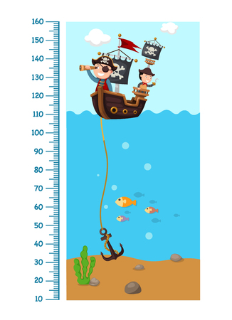 Meter wall with pirate ship.vector illustration Иллюстрация
