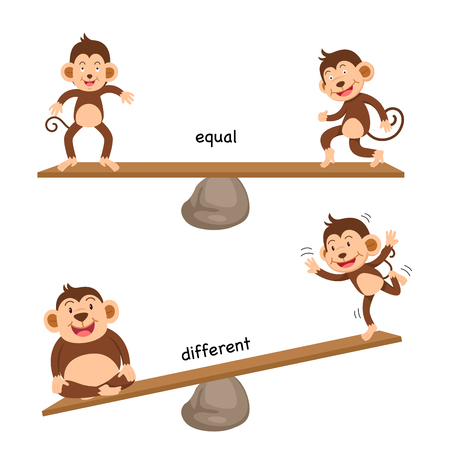 Opposite equal and different vector illustration