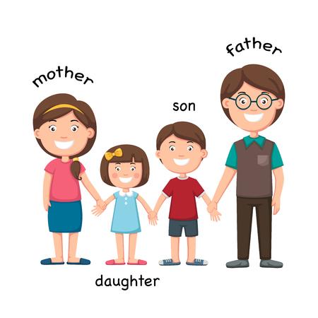 Opposite family vector illustration