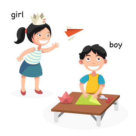 Opposite boy and girl vector illustration