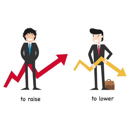 Opposite  to raise and to lower vector illustration