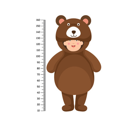 Meter wall with bear costume .vector illustration