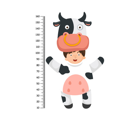 Meter wall with cow costume .vector illustration