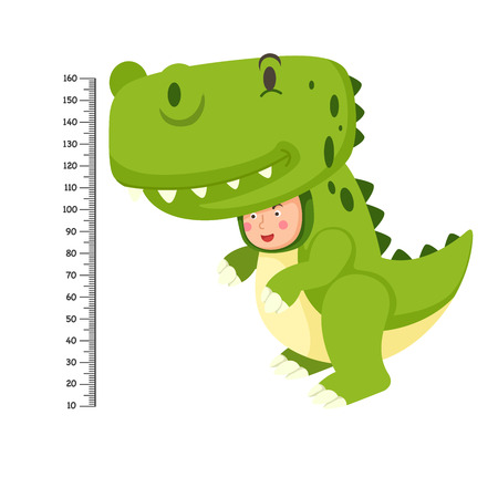Meter wall with dinosaur costume .vector illustration