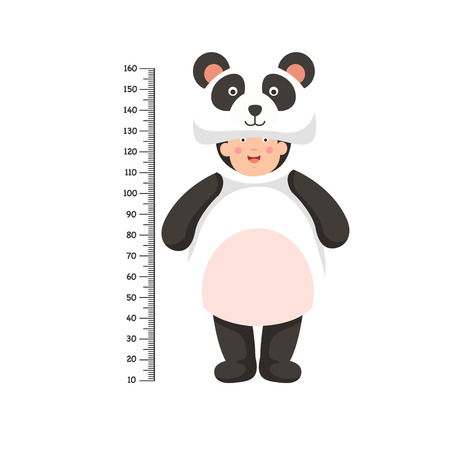 Meter wall with panda costume .vector illustration