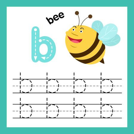 Ejercicio del alfabeto B con ilustración de vocabulario de dibujos animados, vector