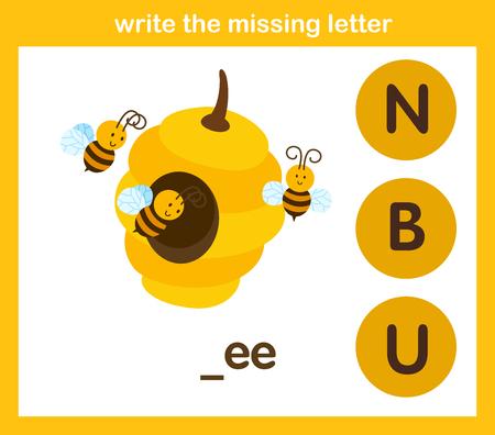 écrire la lettre manquante, illustration, vecteur