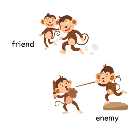 Opposite friend and enemy vector illustration