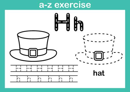 Exercice de l'alphabet az avec vocabulaire de dessin animé pour l'illustration de livre de coloriage, vecteur
