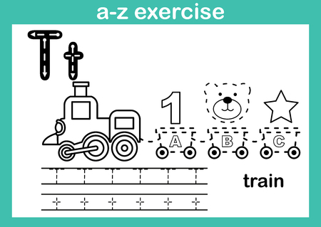 Alphabet a-z exercise with cartoon vocabulary for coloring book illustration, vector Vetores