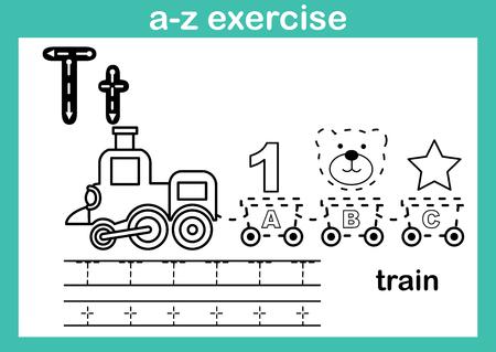 Exercice de l'alphabet az avec vocabulaire de dessin animé pour l'illustration de livre de coloriage, vecteur Vecteurs