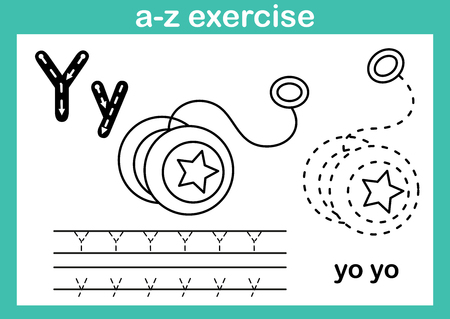 Alphabet a-z exercise with cartoon vocabulary for coloring book illustration, vector