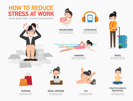 How to reduce stress at work. Foto de archivo - 104982076
