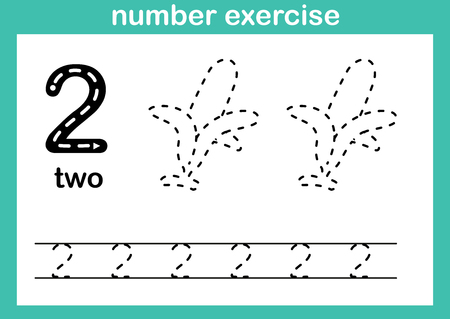 number exercise illustration vector Çizim