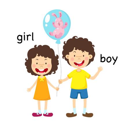 Illustration vectorielle de garçon et fille en face