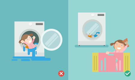 wrong and right way,do not play in the washing machine.illustration vector