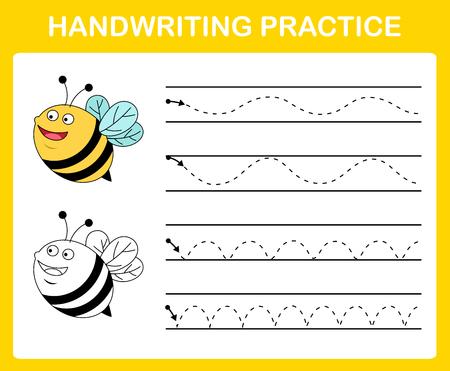 Vettore dell'illustrazione del foglio di pratica della scrittura a mano