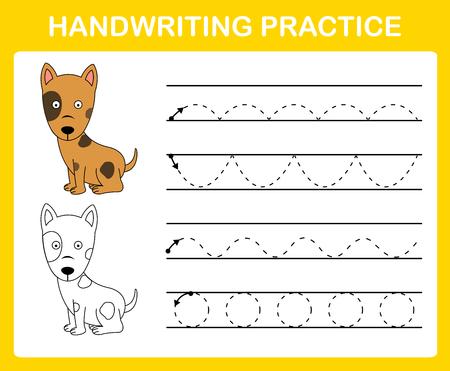 Illustration vectorielle de feuille de pratique de l'écriture manuscrite