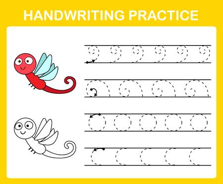 Handwriting practice sheet illustration vector Ilustração Vetorial