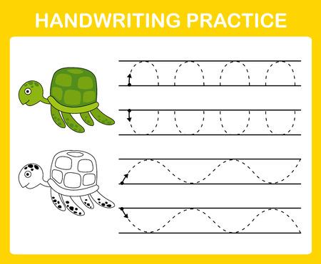 Vector de ilustración de hoja de práctica de escritura a mano Ilustración de vector