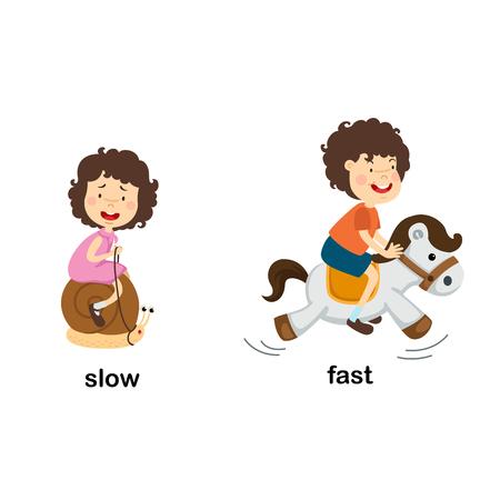 Ilustración de vector lento y rápido opuesto Ilustración de vector