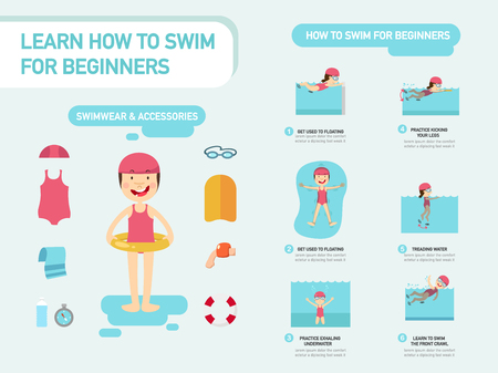 Learn how to swim for beginners infographic vector illustration Illusztráció