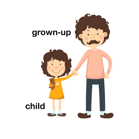 Opposite grown up and child vector illustration