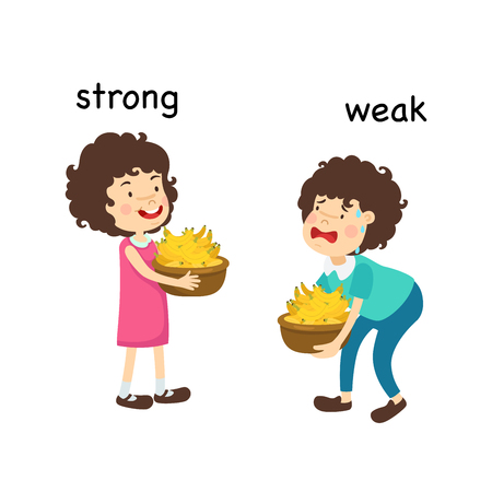 Opposite strong and weak  and clever vector illustration