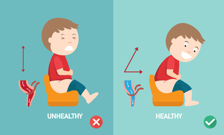 unhealthy vs healthy positions for defecate illustration, vector