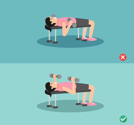 Woman wrong and right bench press posture,vector illustration Illustration