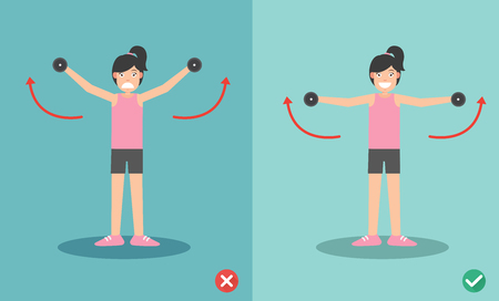 Woman wrong and right dumbbell lateral raise posture,vector illustration Çizim
