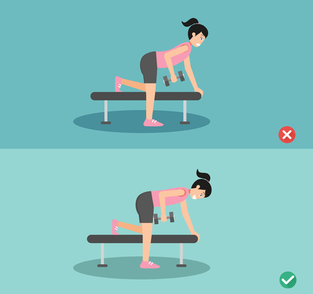 Woman wrong and right one arm dumbbell row posture,vector illustration Vettoriali