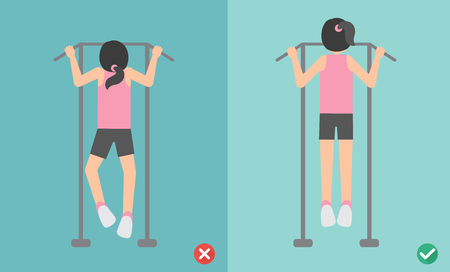 Woman wrong and right pull up posture,vector illustration Ilustração