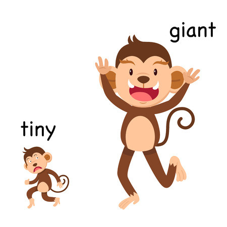 Opposite tiny and giant vector illustration