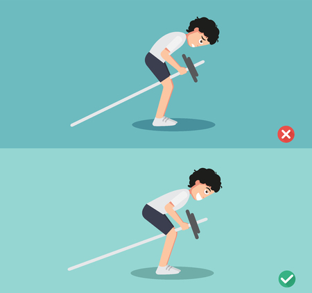 man wrong and right bent over row posture,vector illustration Ilustrace