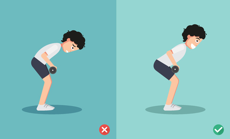 man wrong and right bent over row posture,vector illustration Illustration