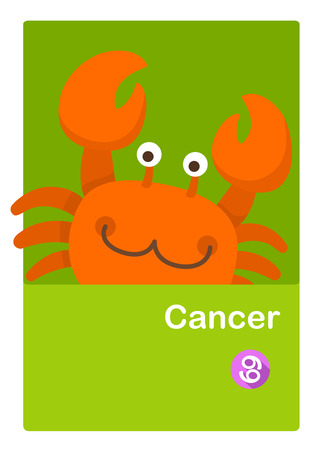 Illustration of isolated cancer vector. zodiac signs