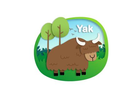 Alphabet lettre Y-yak, papier découpé illustration vectorielle concept