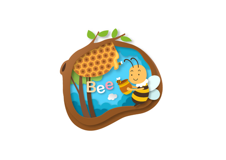 Alphabet Letter B-bee,paper cut concept vector illustration