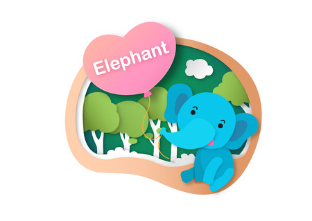 Alphabet Letter E-elephant,paper cut concept vector illustration