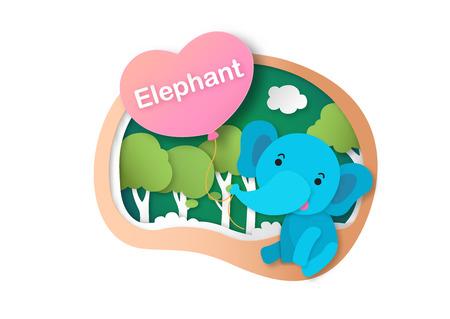 Alphabet Letter E-elephant,paper cut concept vector illustration