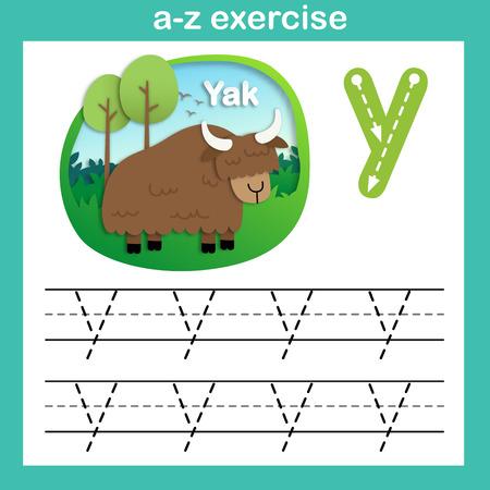 Alphabet Letter Y-yak exercise,paper cut concept vector illustration