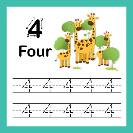 Connecting dot and printable numbers exercise with lovely cartoon for preschool and kindergarten kids illustration, vector Illustration