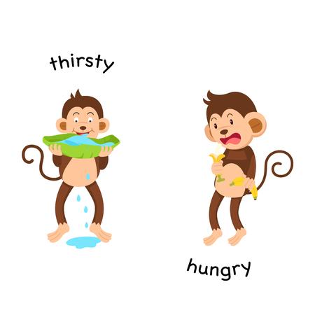 Gegenüber der durstigen und hungrigen Vektorillustration