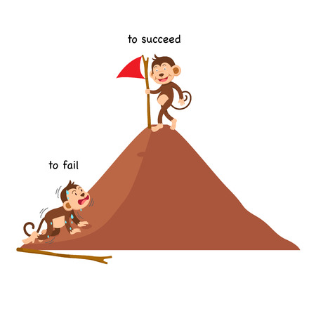 Opposite to fail and to succeed vector illustration Vettoriali