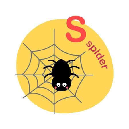 Illustration isolated alphabet letter s-spider vector illustration Ilustração