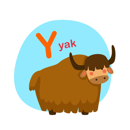 Illustration isolated alphabet letter y-yak vector illustration 向量圖像